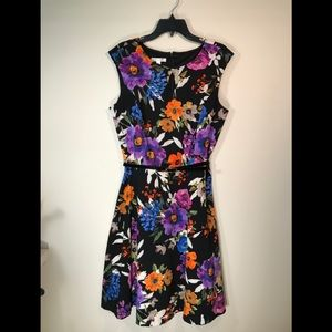 London Times black floral print Fit n Flare dress